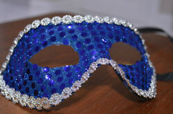 Blue Masquerade Masks With Silver Border
