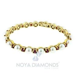 Natural Pearl And Ruby Designed Tennis Bracelet Made In 18k Gold