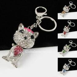 New Cute Kitty Rhinestone Crystal Stainless Steel Key Chains KC002 Best Deal