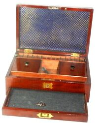 Mahogany Box Fit Compartmentsdrawer And Keysewing Or Tea Antique C1800