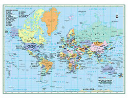 WORLD Wall Map Political Poster 22quot;x17quot; LARGE PRINT Rolled Paper 2020