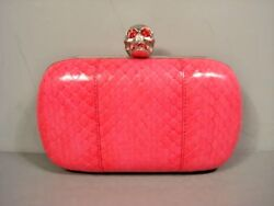Alexander McQueen Silver Skull Pink Snakeskin Box Clutch Evening Bag Purse New