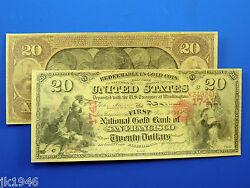 Reproduction 20 1875 National Gold Bank Note Us Paper Money Currency Copy