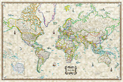 Antique World Wall Map Poster Old World Style Modern Info 36quot;x24quot; Rolled Paper