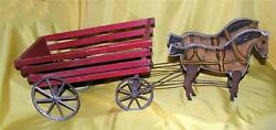 Stunning Vtg 1908 Antique Gibbs Gray Pacers Horse Wagon Pull Toy Works Well