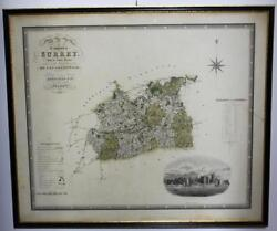 Antique Map Of The County Of Surrey 1822 And 1823 Greenwood And Co. 1829 [pl887]