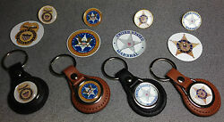 United States Marshal Leather Key Rings And Badges + Free U.s. Marshal Stickers
