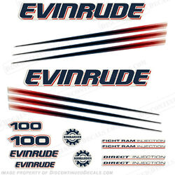 Evinrude 100hp Bombardier Outboard Decal Kit - 2002-2006 Engine Stickers