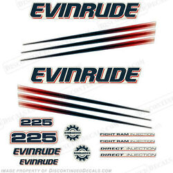 Evinrude 225hp Bombardier Outboard Decal Kit - 2002-2006 Engine Stickers