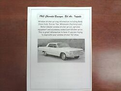 1963 Chevrolet Full-size Factory Cost/dealer Sticker Pricing For Base + Options