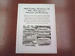 1963 Cadillac Full-line Factory Cost/dealer Sticker Pricing For Base + Options