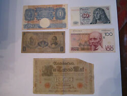 1910 1000 Mark Note, 100 Cent Francs, 1 Pound Note, 1959 1 Peso, 1 Mark - Env8