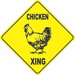 13quot;x13quot; plastic funny Chicken sign xing Crossings animal