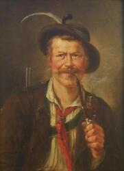 Georg Roessler (German 1861-1925) Bavarian Hunter Smoking a Pipe Oil Painting