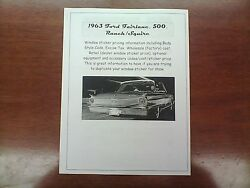 1963 Ford Fairlane Factory Cost/dealer Sticker Pricing For Car + Options