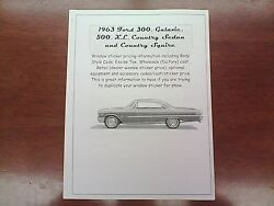 1963 Ford Big-car Factory Cost/dealer Window Sticker Pricing For Car + Options