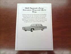 1963 Plymouth Big-car Factory Cost/dealer Sticker Pricing For Car + Options