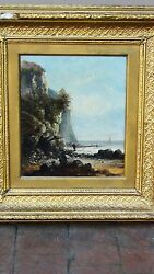 Antique 18c French Oil Painting Of A Rocky Coastal Scene W/figures Looking 2