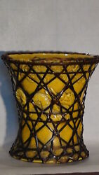 Antique Chinese Tang Dynasty Monochrome Pottery Yellow Glazeandstraw Dragon Vase
