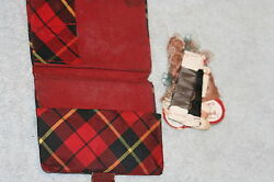 Antique C1800and039s Tartan Sewing And Needle Case And Threads