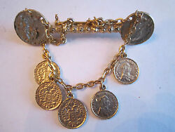 Vtg Faux Coin Brooch Pin - Costume Jewelry - 3 Long - Very Nice - Tub Bba