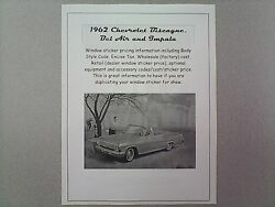 1962 Chevrolet Big-car Cost/dealer Retail Sticker Pricing For Car + Options