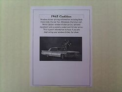 1962 Cadillac Full-line Cost/dealer Retail Sticker Pricing For Car + Options