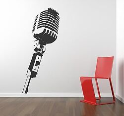 Microphone Wall Decal removable sticker mic studio decor vintage music producer