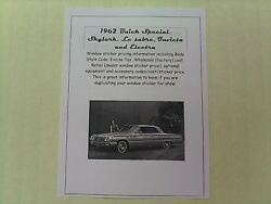 1962 Buick Full-line Cost/dealer Retail Window Sticker Pricing For Car + Options