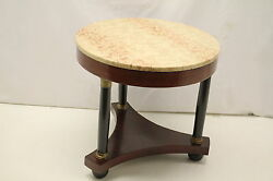 French Empire Mahogany And Ebony Side End Table With Marble Top And Bronze Mount 19t