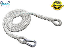 Jet Ski Recovery Tow Rope Nylon 3/8 X 20and039 W/ Eyes And Snap Hook Ts. 3700 Lbs