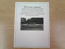 1966 Lincoln Continental Cost/dealer Retail Sticker Pricing For Car + Options