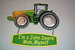 John Deere Farm Tractor Wood Hanging Picture Frame Decoration Ornament 13-3/4in