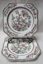 Johnson Brother's Ironstone Indian Tree Green Greek Key Square 7.5 Plate 2 Pc.