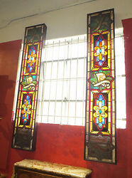 Judaica Pair Of Leaded Glass Framed Panels- 8and039 Tall- Depicting Tribes Of Israel
