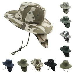 Boonie Fishing Hiking Summer Military Snap Brim Neck Cover Bucket Flap Hat Cap $10.99