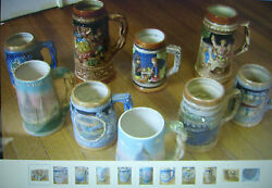 Vintage Mid Century Ceramic Beer Stein Collection- Ny Dcnola Sf And More C.1950