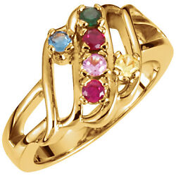 14k Solid Gold Motherand039s Ring 1 To 6 Birthstones Mothers Day Jewelry Ring