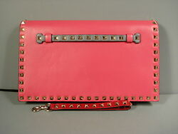 Valentino Pink Grey Red Green Leather Gold Rock Stud Flap Wristlet Clutch Bag