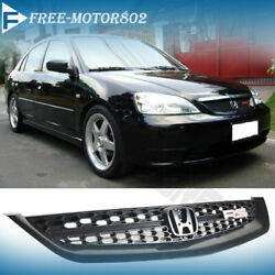 Fit 2001-2003 Honda Civic Rs Front Hood Bumper Mesh Grille Grill Black Jdm Style
