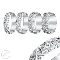 18ct White Gold Ring Heavy Weight Court Shaped Diamond Cut Wedding Band