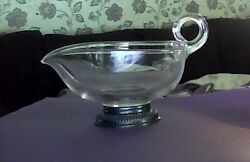 Vintage Frank M Whiting Silver Glass Gravy Boat