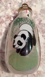 Vintage Chinese Glass Snuff Bottle, Panda On One Side, Yellow Birds On Other