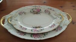 Vintage Bavarian China Black Knight Tiger Lily - 18 And 14 Oval Serving Platters