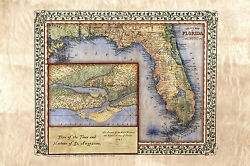 11 Florida 1847 Featuring St Augustine Vintage Historic Antique Map Poster Print