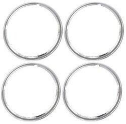 16 Chrome Stainless Steel Hot Rod Style Smooth Beauty Rings Trim Ring Set Of 4