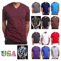 Men's HEAVY WEIGHT V-Neck T-Shirt Lot Plain Tee BIG And Tall Comfy Camo Hipster $6.49
