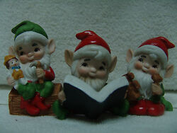 Vintage Set Of 3 Assorted Homco Elves/pixies 3 3/4 - 4 1/2 Tall