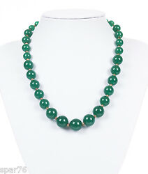 Art Deco Graduated Green Chrysoprase Gold Filled Necklace