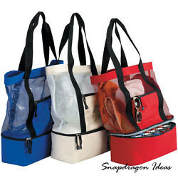 SnapdragonIdeas The Beach Mesh Tote 12 Cans Dual Handle Polyester Cooler Bag